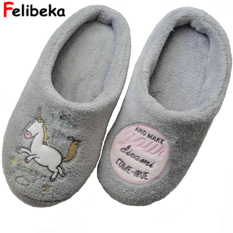 2017 New arrived fashion winter cartoon cute unicorn women slippers indoor floor for bedroom house Non-slip adult shoes kesmall soft plush cotton cute slippers shoes non slip floor indoor house home furry slippers women shoes for bedroom ws330