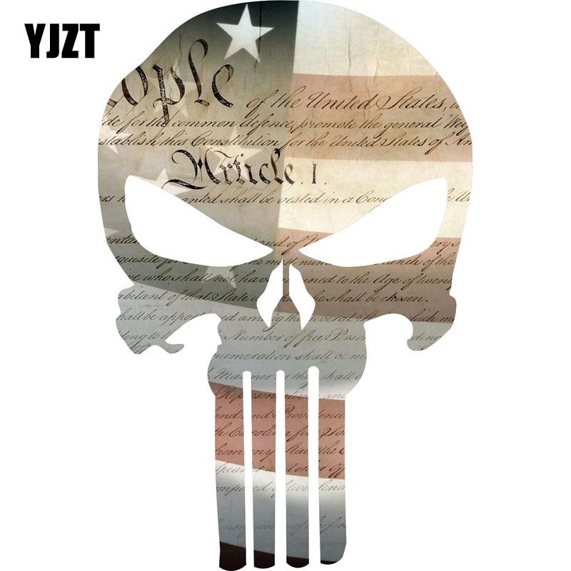 YJZT 9.7CM*15.2CM PUNISHER SKULL Details About Punisher Skull Constitution Flag Punisher Exterior Reflective Car Sticker C1-7039