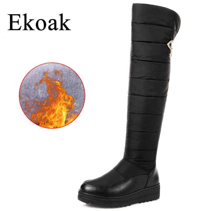 Ekoak Women Snow Boots Winter Warm Cotton Thigh High Boots Ladies Fashion Over The Knee Boots Wedges Shoes Woman Long High Boots fashion keep warm winter women boots snow boots 2017 buckle cotton boots women boots shoes