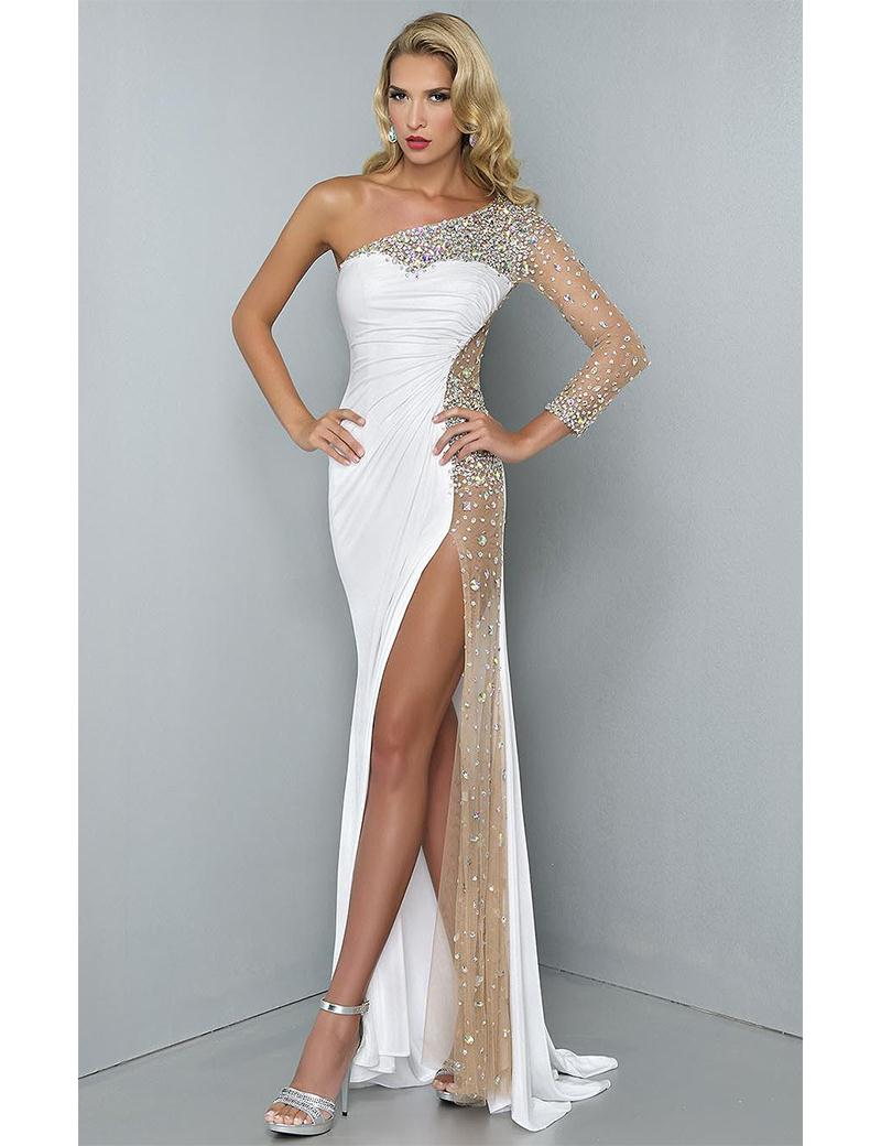 Shiny Crystal High Cut Leg Y Long Evening Dress With One Sleeve See Through Party Prom Formal Gown In Dresses From Weddings Events On