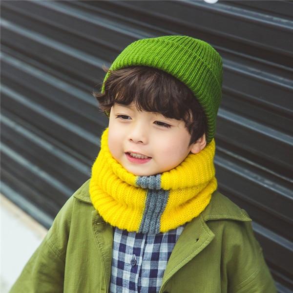 VISROVER/вязаный шарф для девочек и мальчиков, детское кольцо с полосками, безграничный снуд, Детские кашемировые шарфы, Круглый теплый шарф на шею - Цвет: 1