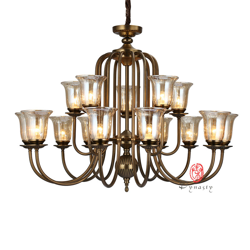 Dynasty Antique Chandelier American Style Vintage Brass Copper Glass Hanging Art Decorative Lights Opera Restaurant Hotel Cafe