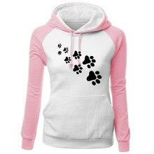 Women Hoodies Sweatshirts Ladies Autumn Winter Sweat Shirts Cat Paw Printed Long Sleeve Fall Clothing