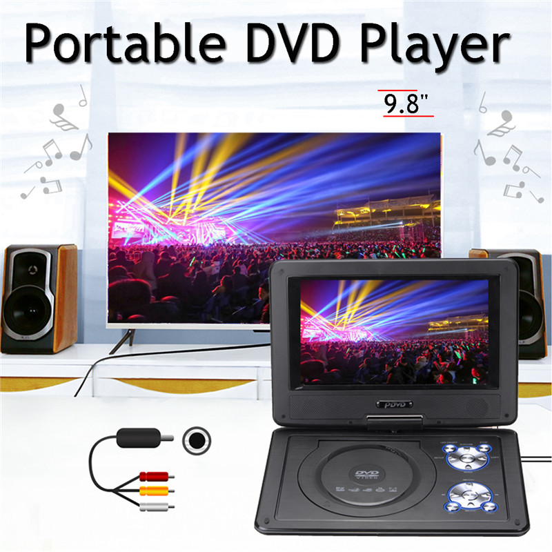 7Pcs In 1 9.8 mini Portable Game Console Car DVD Player CD Support MP4 MP3 JPG Swivel USB SD 300 GAMES With DC 12V Car Adapter