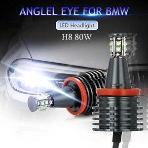 Image 2 - 2 adet araba melek gözler araba ışık far lambası beyaz sis farları H8 farlar LED Canbus ücretsiz BMW E90 e92 E82 E70 X5 E71 X6