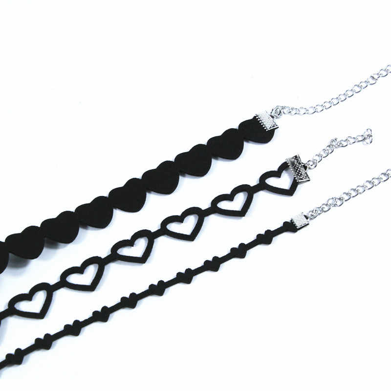 Harajuku Black Velvet Hollow out Sweet Heart Choker Necklace Women Collar Jewelry Women Statement Jewelry Free Shipping x158