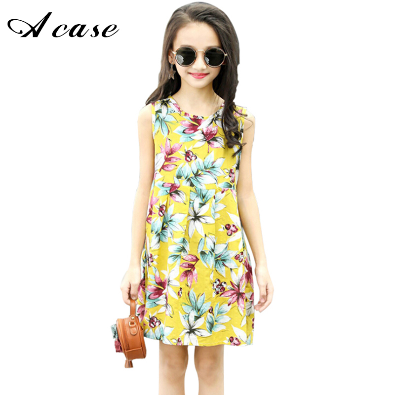 2018 Summer Girl Floral Flower Sleeveless Casual Dress Little Kids Colorful Vest Dresses for Toddler Teen Girls Children Clothes