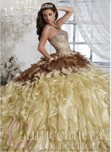 Brown And Gold Ball Gown 2018 Quinceanera Gown With Crystal Vestido De Noiva Beads Bridal Gown Mother Of The Bride Dresses