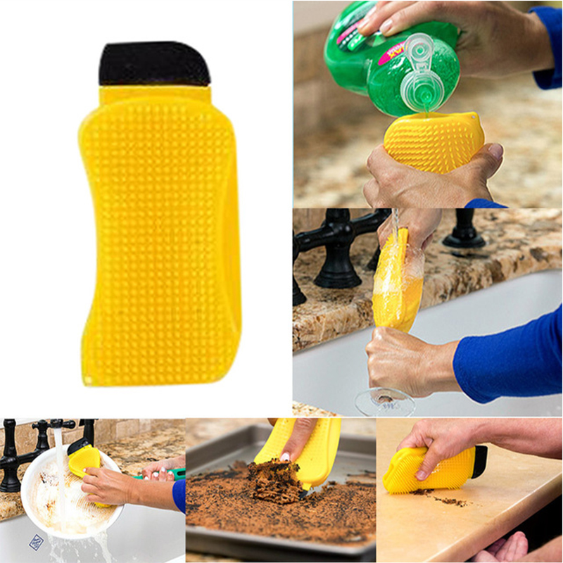 3-In-1 Silicone Sponge Brush Hero Cleaning Brush for Dropshipping Squeegees for Built with Soap Dispenser in Kitchen Cleaning