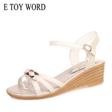 E TOY WORD sandals women 2019 Fashion Summer shoes Wedge beige sandals thick bottom flat comfortable Beach Sandals цена