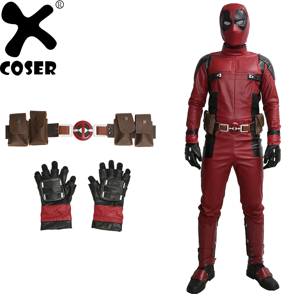 XCOSER Deadpool Cosplay Costume Adult Men New Cool 2019 Halloween Festival Party Cosplay Costume Sets With Belt And Gloves