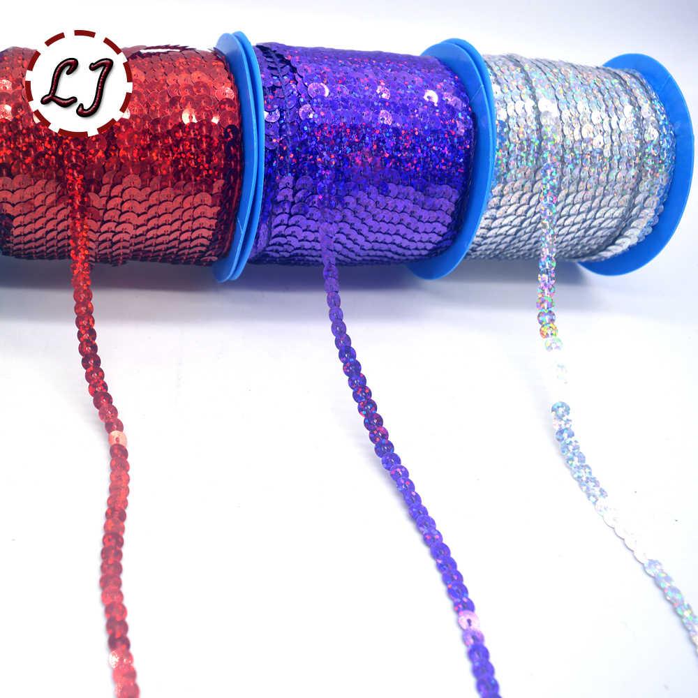 Novo 10yds 6mm pet redondo plana giltter laser paillettes lantejoulas para artesanato costura em pano acessório lantejoulas guarnição scrapbooking diy