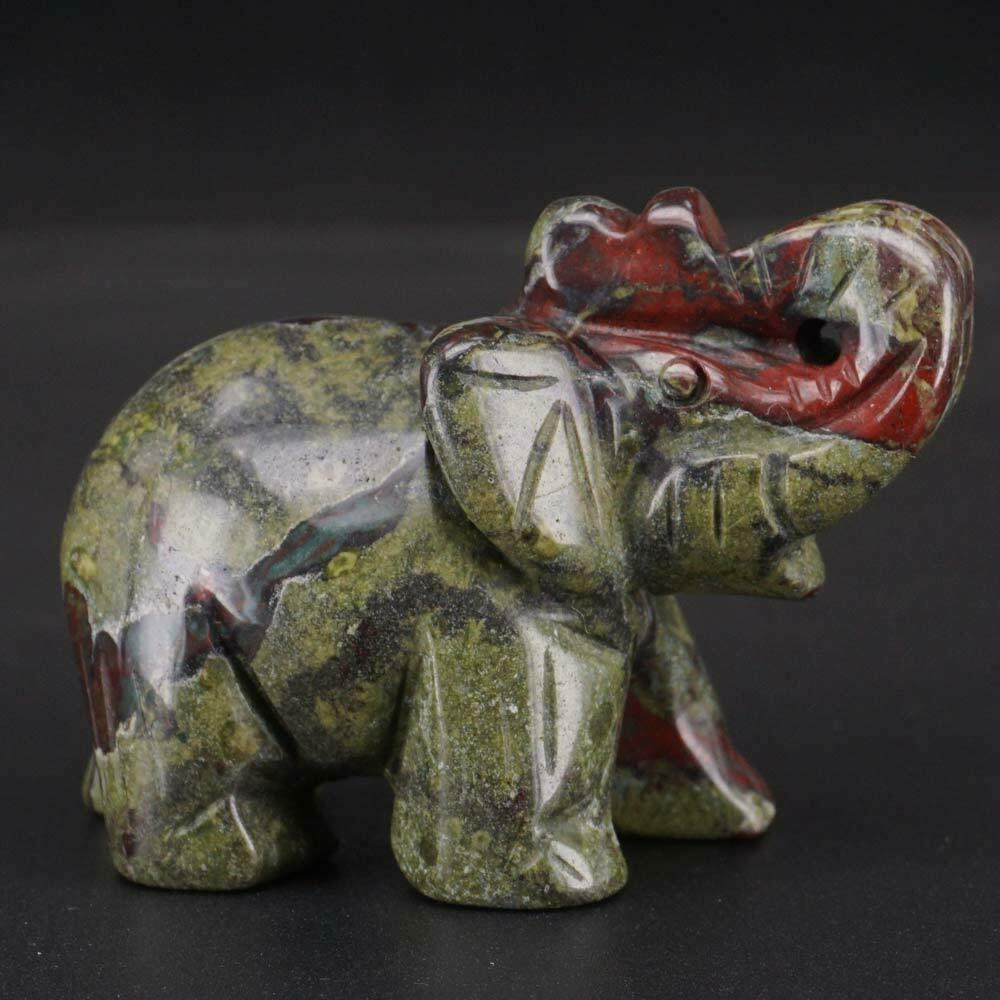 Elephant Figurines Craft Carved NaturalDragon Bloodstone Mini Animal Statue Decor Chakra Healing 2 Inch