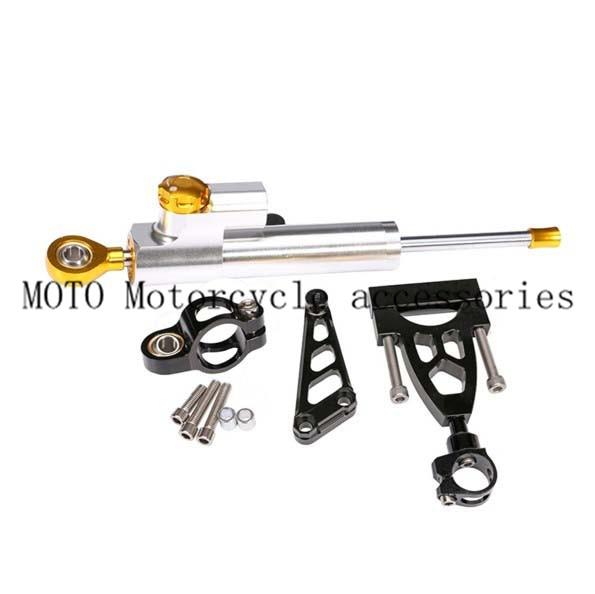 CNC Aluminum Steering Damper Complete Set Motorcycle Bracket kits for HONDA CB400 VTEC 1999-2006 2007 2008 2009 2010 2011 2012 cnc steering damper complete set for kawasaki zx6r 636 2007 2008 w bracket kits