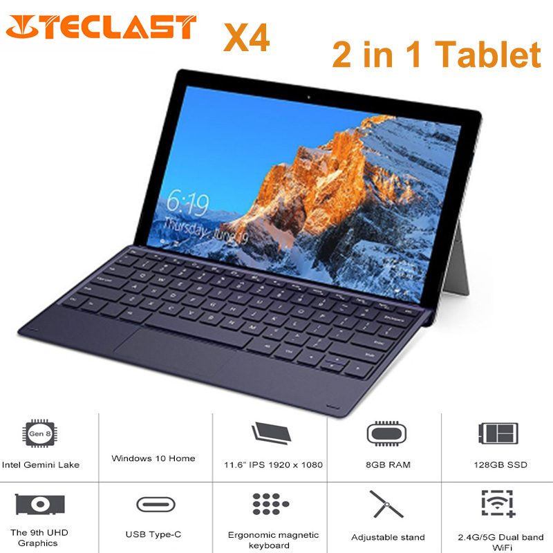 X4 2 em 1 Teclast Tablet PC 11.6 polegada Windows Celeron 10 N4100 Quad Core 8GB de RAM 256GB SSD Dual Camera HDMI Laptop com Teclado