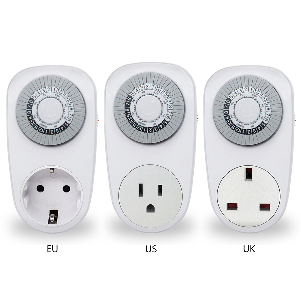 цена 24 Hour Timer Switch Socket Programmable Mechanical Electrical Outlet Program Timer Power Switch Converters EU/US/UK Plug