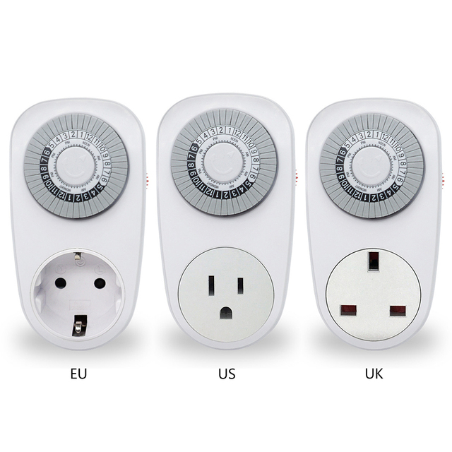 24 Hour Timer Switch Socket Programmable Mechanical Electrical ...