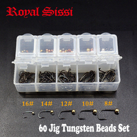 1set 60 Degree Jig Hooks Slotted Tungsten Beads Combo With Despenser Fly Tying Heavy Head Bead