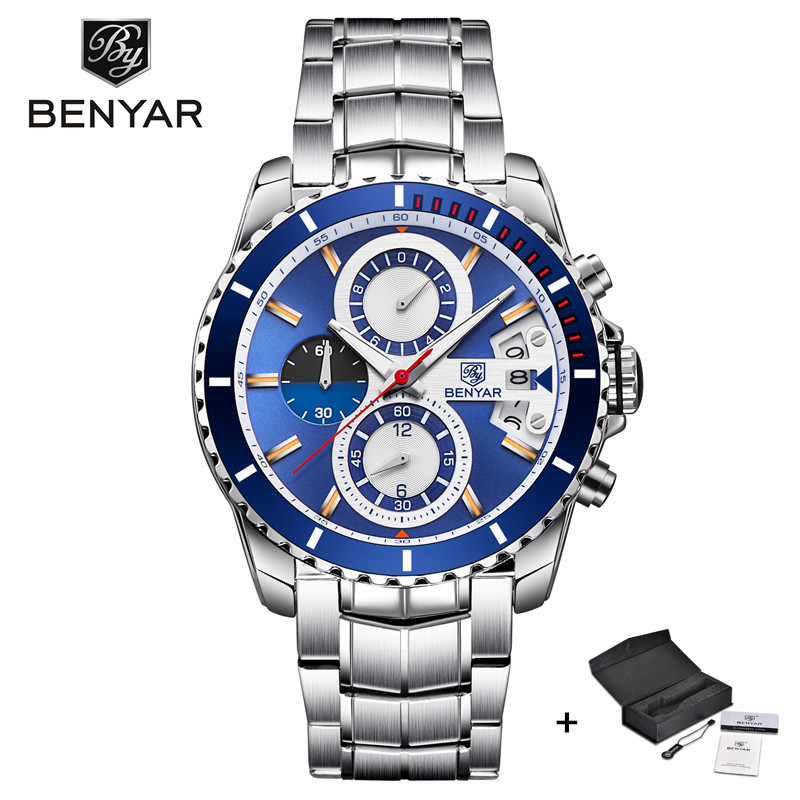 BENYAR Mens Watches Top Brand Luxury Business Watch Men Stainless Steel Military Sport Quartz Wrist Watch relogio masculino xfcs pu leather strap wrist watches for men luxury stainless steel dial quartz watch mens sports business watch relogio masculino lh