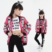 Fashion Children Jazz Dance Clothing 3Pcs Suit Outfits Girls Street Dance Hip Hop Dance Costumes Kids