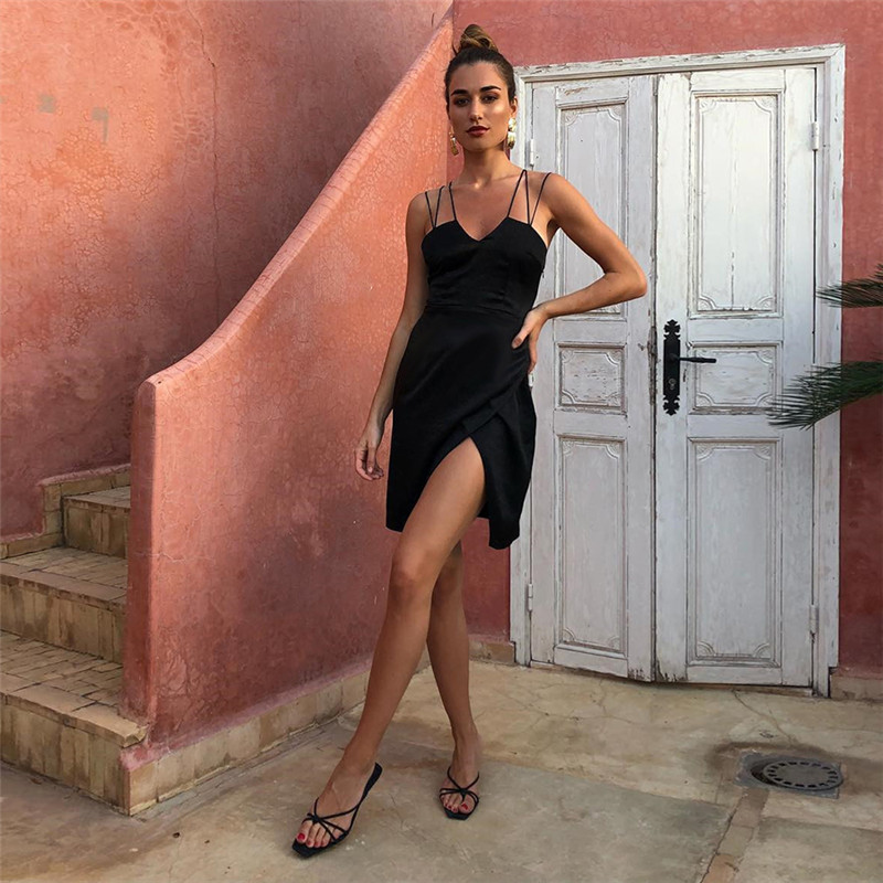 Sexy Backless Women Dress Slim Strap Black Color Night Club  Dress