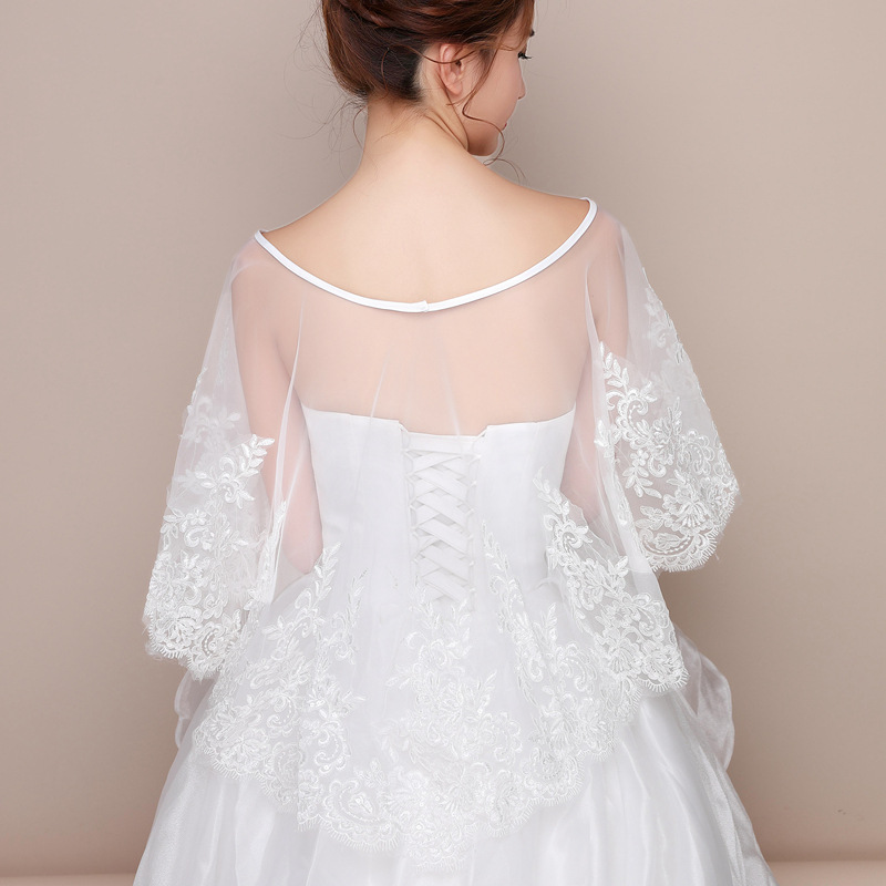 Cape Mariage Summer White Bridal Lace Shawl Mesh Appliques Women Bolero For Wedding Jacket Wrap Wedding Accessories Tippet