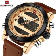 Top Luxury Brand NAVIFORCE Men's Quartz Waterproof Watches Men Fashion Sports Clock Man Leather Military Watch Relogio Masculino