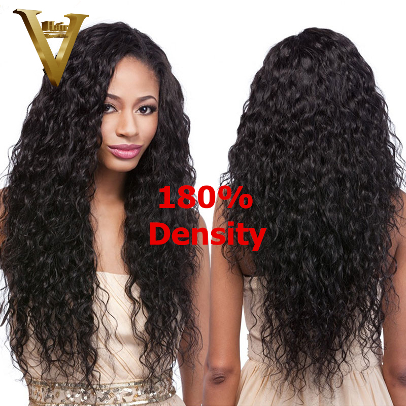 180 Density Glueless Full Lace Human Hair Wigs Lace Front Wigs Unprocessed Virgin Brazilian Water Wave
