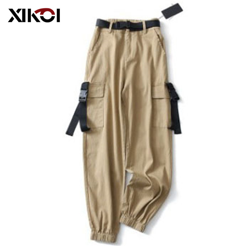 XIKOI New Streetwear Cargo Pants Women Casual Black High Waist Loose Female Trousers Korean Style Ladies Long Pants Capri