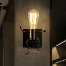 Lámpara de pared creativa de arte del hierro LED, lámpara de pared de Robot de dibujos animados para dormitorio Retro de campo americano, lámpara de pared para habitación de niños