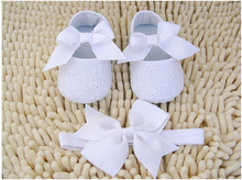 Ivory White Bowknot Baby Girl Lace Shoes set baby Booties hair accessories Shoes and headband set