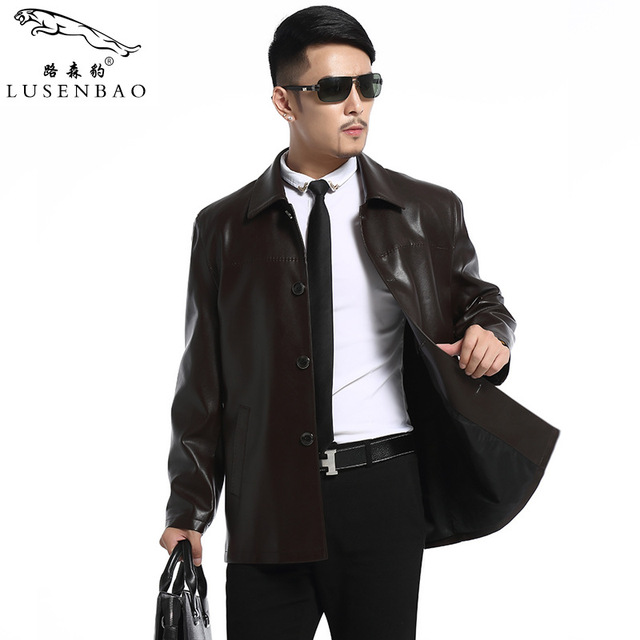 Male Leather Jacket Men's Fashion Trend In High-grade Leisure Large Size Contracted Classic Mens Leather Jackets And Coats
