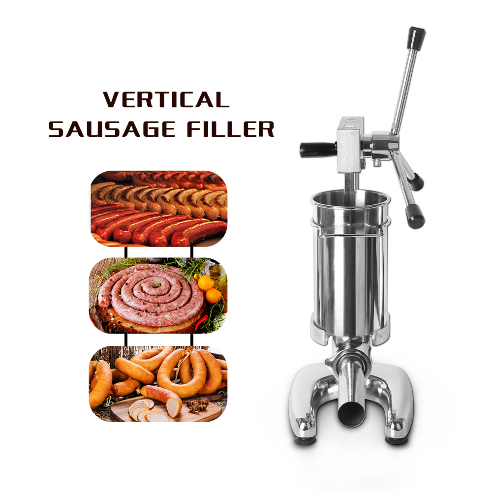 ITOP Vertical 2L Sausage Stuffer Meat Filling Machine Stainless Steel Sausage Filler Food Processors With 4 Sausage Funnels