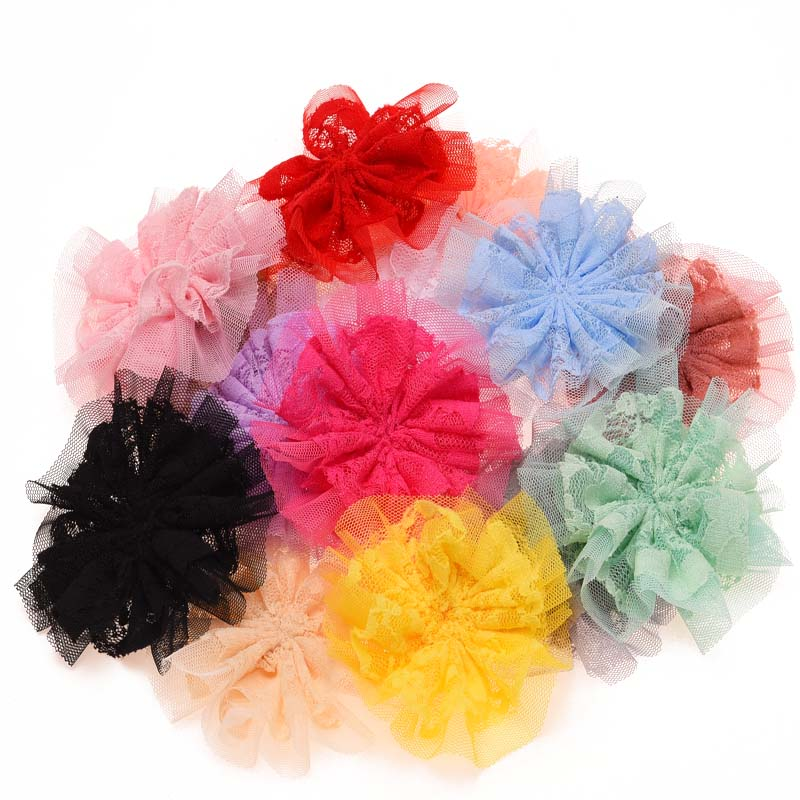 3 5 Black Flower Hair Clip With Flower Center: 14PCS Chiffon Puff Flowers Artificial Flowers For Hair