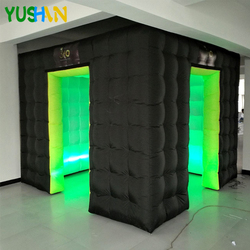 10ft Große Tragbare Photo booth LED beleuchtung Aufblasbare photo booth kabine mit 2 eingänge Individuelles Logo Photo booth Für Jede event
