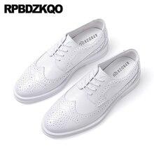 Итальянская обувь ручной работы под заказ; модельные оксфорды; Мужские броги в британском стиле; обувь из натуральной кожи с перфорированным носком для выпускного; сезон весна-осень; итальянская обувь белого цвета