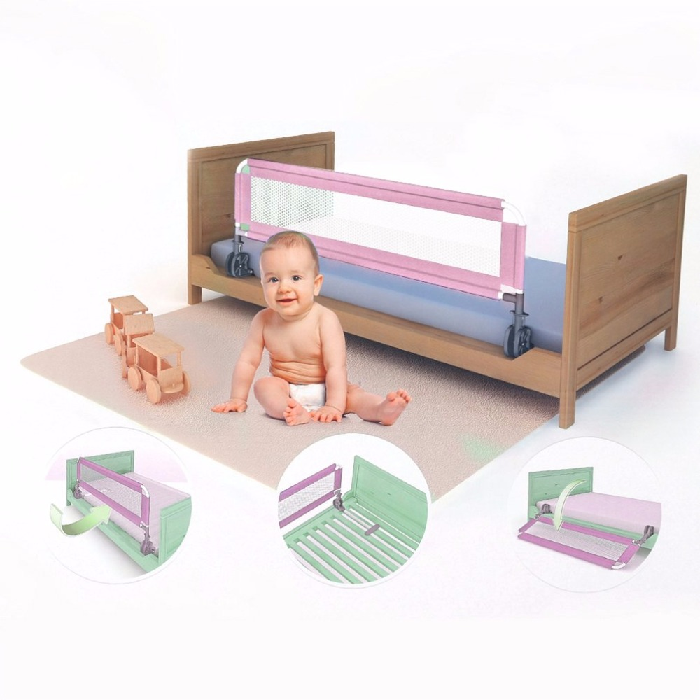 1M Portable Baby Child s Bed Guard Rail Foldable Toddler Bed Fence Grid Safety Sleep Protective Guard Side Bedrail