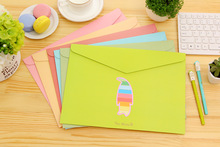 Candy-colored cute marine animals fashionable stationery paper bags paper folder/ Colors shipped randomly selected/4PCS/SET