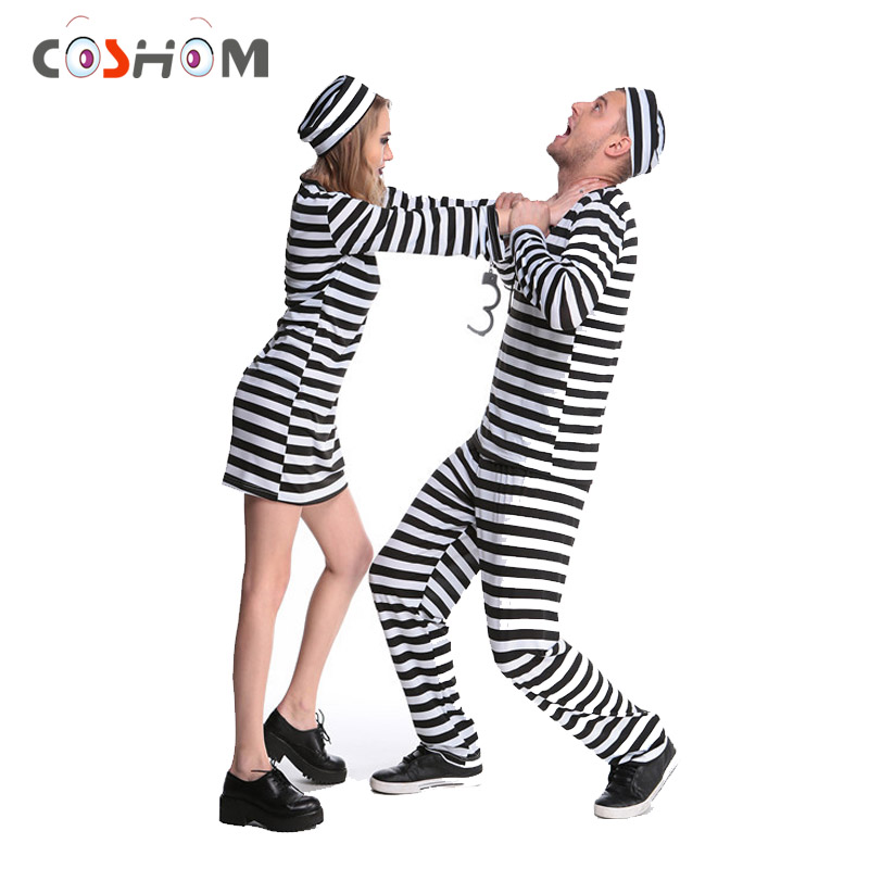 Coshome Prisoner Cosplay Costumes Man Women Prison Criminal Suits Jail Adult Black And White Striped Couple Clothes With Hats