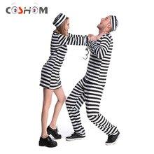 Coshome Prisioneiro Trajes Cosplay Homem Mulheres Ternos Prisão Prisão Criminal Adulto Preto E Branco Listrado Casal Roupas Com Chapéus