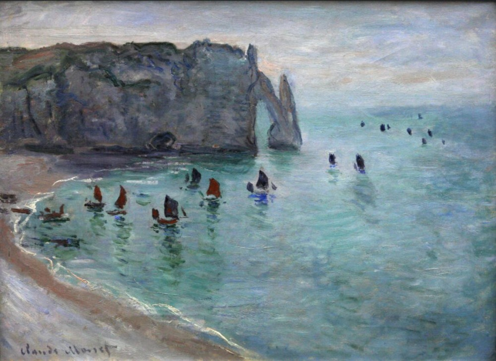 High quality Oil painting Canvas Reproductions Etretat the Aval Door Fishing Boats Leaving the Harb by Claude Monet hand paintedHigh quality Oil painting Canvas Reproductions Etretat the Aval Door Fishing Boats Leaving the Harb by Claude Monet hand painted
