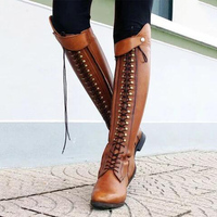 Women Retro Knee High Boots Lace Up High Quality PU Platform Riding Boots Female Zip Low Square Heel Plus Size Footwears Ladies
