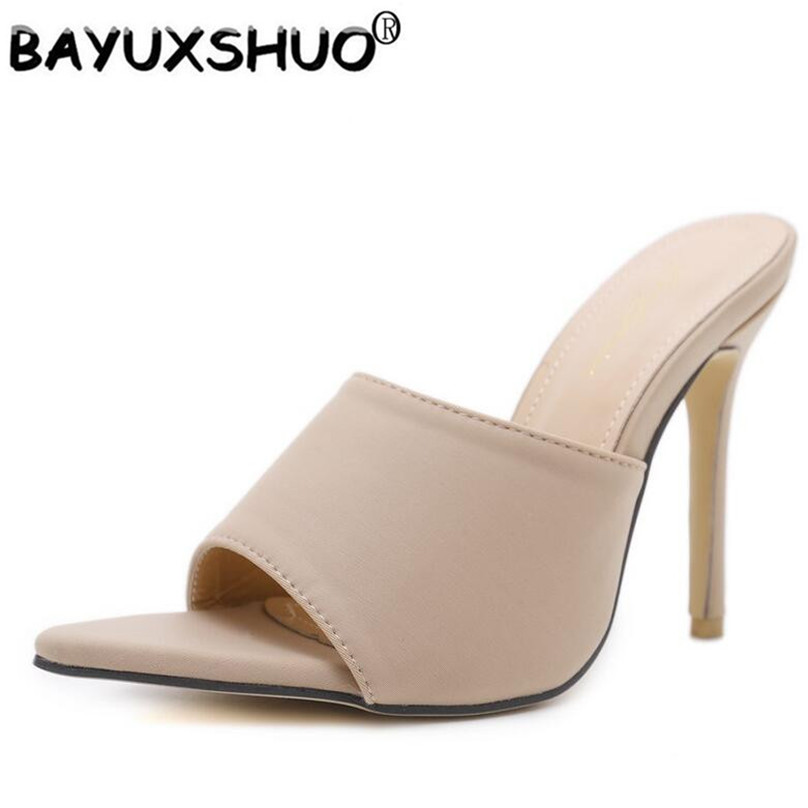 BAYUXSHUO Women High Heel Mules Peep Toe Slip On Sandals Ladies Stiletto Heel Summer Pointy Front Sandals Shoes Woman Footwear crystal chunky heel sandals women summer t word buckle sweet rhinestone heel ladies sandals peep toe med heel woman shoes