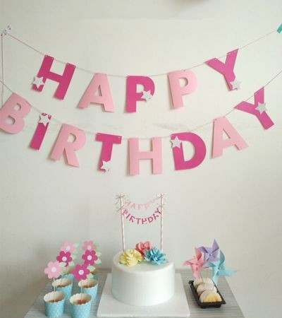 New Rose Pink Happy Birthday Letter Banner Party Decoration Baby