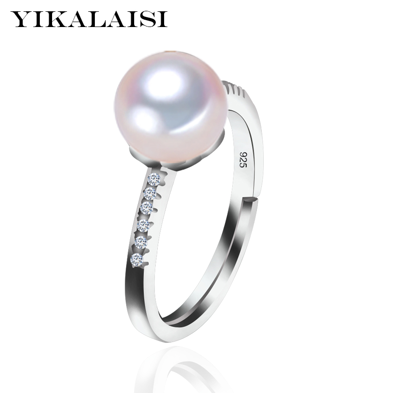 YIKALAISI 925 Sterling Silver Natural Freshwater Pearl AAA Zircon Fashion Rings Jewelry For Women 8-9mm Pearl Adjustable Rings