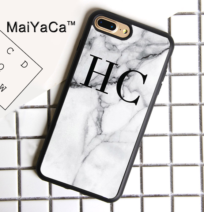 wholesale dealer 86c74 5e80d US $4.33 5% OFF|MaiYaCa PERSONALISED GREY MARBLE MONOGRAMMED Printed Phone  Case For iPhone 7 Plus Cases Soft TPU Back Cover For iPhone 7 Plus-in ...