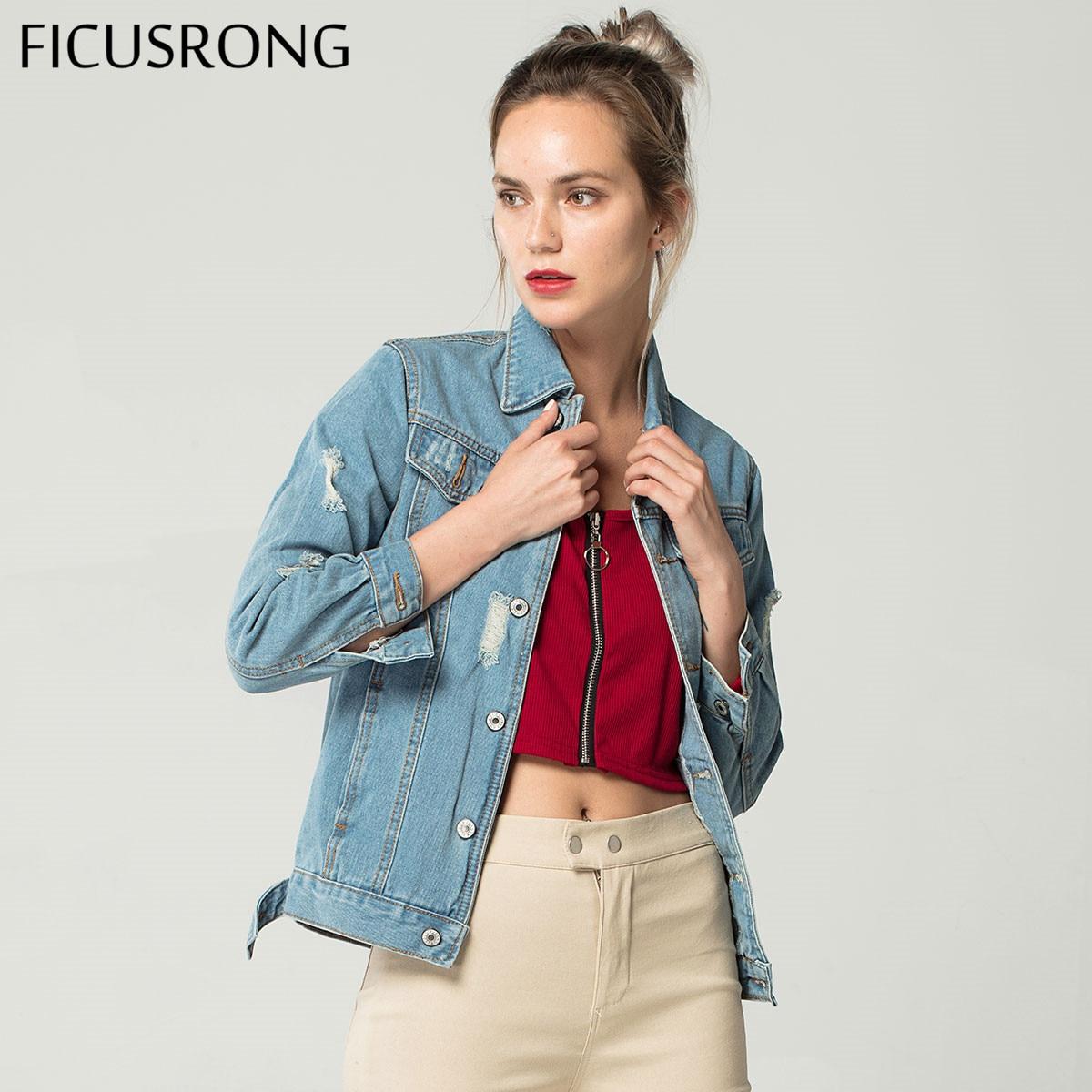 2019 New Women Hole Frayed Vintage Denim Jacket Coat For Female Jeans Denim Coat Girl's Bomber Jacket Basic Coat FICUSRONG