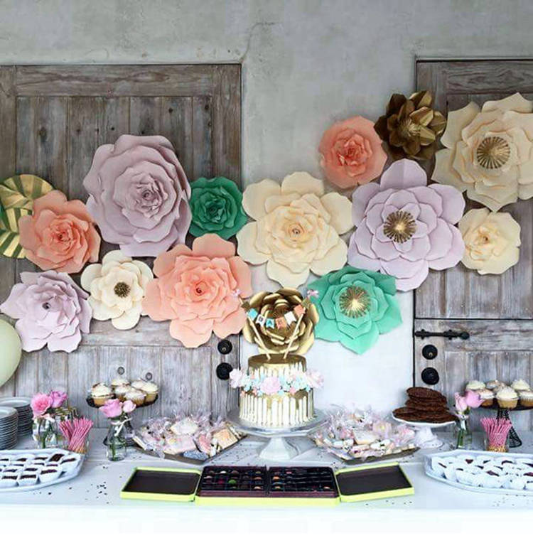 Buy 2pcs paper flowers 20cm diy party for Home interior parties products