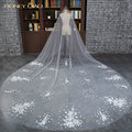 Honey Qiao High Quality White Wedding Veil 3.5 Meters Long Royal Train 2017 Applique Wedding Veil Cathedral Bridal Veils
