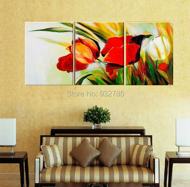 3 piece/set wall art !!! 100% Handmade Modern Abstract Flower Oil ...